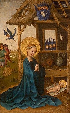 Stephan Lochner: Anbetung des Kindes durch Maria (Geburt Christi)
