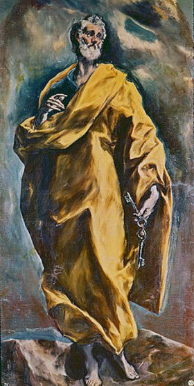Greco El (Dominikos Theotokopoulos): Der Hl. Petrus mit den Schlüsseln des Himmels