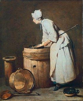 Jean-Baptiste Siméon Chardin: Mädchen am Fass (Das Scheuermädchen)
