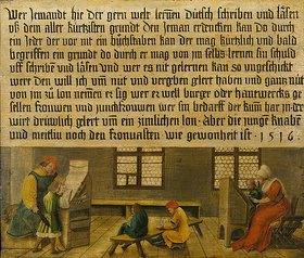 Ambrosius Holbein: Ein Schulmeister und seine Frau bringen drei Knaben und einem Mädchen das Lesen bei
