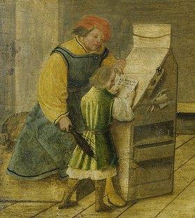 Ambrosius Holbein: Der Schulmeister mit der Rute. Detail aus Ein Schulmeister und seine Frau