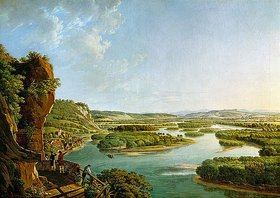 Peter Birmann: Blick vom Isteiner Klotz Rheinaufwärts gegen Basel