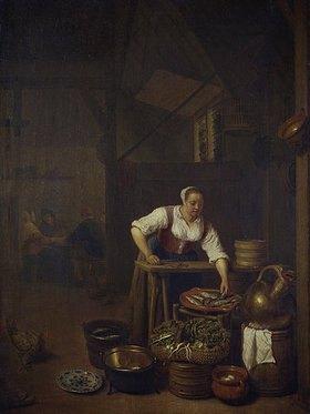 Hendrik Martensz Sorgh: Köchin bei der Essenzubereitung