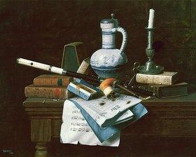 William Michael Harnett: Stilleben mit Flöte, Tabakspfeife, Büchern und anderen Utensilien