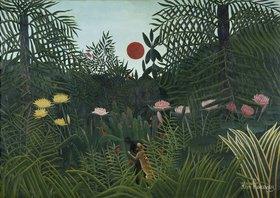 Henri Rousseau: Urwaldlandschaft mit untergehender Sonne
