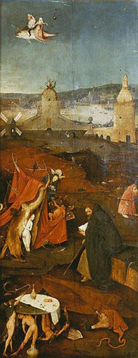 Hieronymus Bosch: Antonius-Altar. Rechter Flügel: Der hl.Antonius in Betrachtung