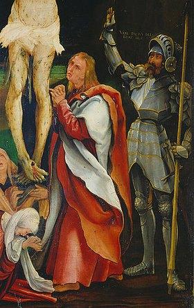 Mathias Grünewald: Kreuzigung Christi. Detail: Johannes unter dem Kreuz