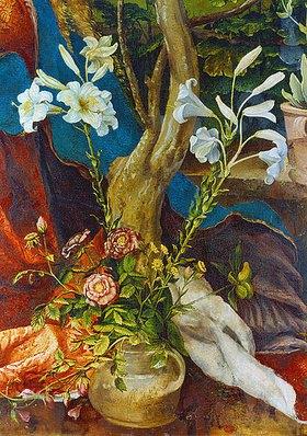 Mathias Grünewald: Stuppacher Madonna. Detail: Weisse Lilien