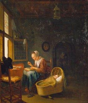 Adriaen van Gaesbeeck: Nähende Mutter an der Wiege