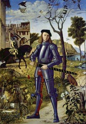 Carpaccio/Scarpazza: Ritter in einer Landschaft stehend