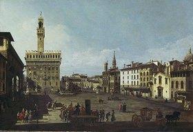 Bernardo (Canaletto) Bellotto: Die Piazza della Signoria in Florenz. (1740/45)