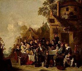 Jan Miense Molenaer: Fröhliche Gesellschaft vor dem Wirtshaus Zum Halbmond in Haarlem