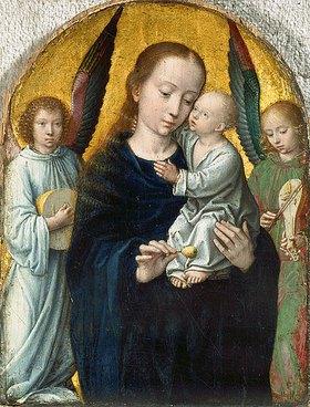 Gerard David: Maria mit dem Kinde zwischen musizierenden Engeln