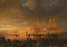 Markus Larsson: Der Hafen von Stavanger bei Abend- beleuchtung