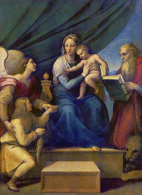 Raffael (Raffaello Sanzio): Thronende Madonna mit Erzengel Raffael, Tobias und Hieronymus(Madonna del Pesce)
