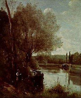 Jean-Baptiste Camille Corot: Lesende an einem bewaldeten Flussufer