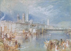 Joseph Mallord William Turner: Ansicht von Rouen, Fluss aufwärts