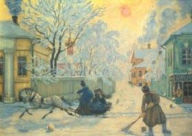 Boris Michailowitsch Kustodiev: Straßenkehrer und Pferdeschlitten an einem frostigen Wintertag