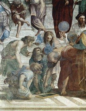 Raffael (Raffaello Sanzio): Die Schule von Athen. Detail: Euklid (rechts mit Globus: Ptolemaios)