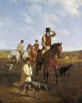 Jacques Laurent Agasse: Bildnis des Lord Rivers zu Pferde mit seinen Freunden
