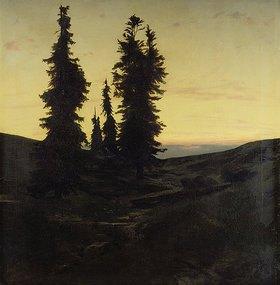 Arnold Böcklin: Wettertannen im Jura bei sinkender Sonne