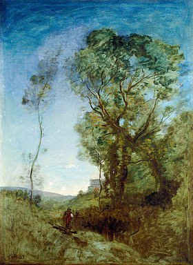 Jean-Baptiste Camille Corot: Italienische Villa hinter Pinien