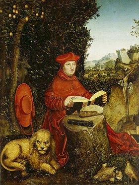 Lucas Cranach d.Ä.: Der hl. Hieronymus, lesend in der Landschaft
