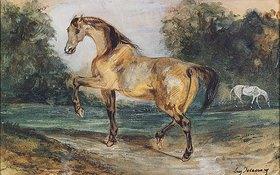 Eugene Delacroix: Zwei Pferde auf einer Waldwiese