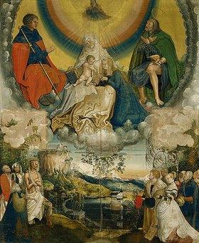 Niklaus Manuel I Deutsch: Mutter Anna Selbdritt mit den Hll. Jakobus und Rochus als Fürbitter für die von der Pest geplagte Menschheit