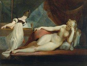 Johann Heinrich Füssli: Nacktes Mädchen, einer Klavierspielerin zuhörend