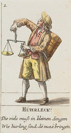 David Herrliberger: Händler (Hührleck) mit Waage. Aus Basslerische Ausruffbilder