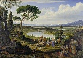 Joseph Anton Koch: Tiberlandschaft bei Rom mit ländlichem Fest