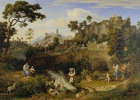 Joseph Anton Koch: Landschaft bei Olevano mit Ziegelei und musizierenden Landleuten