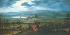 Matthäus Merian d.Ä.: Blick von Bruderholz auf die Stadt Basel