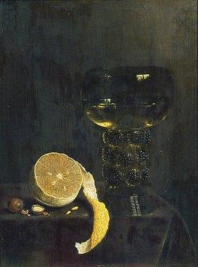Jan III. van de Velde: Weinglas und angeschnittene Zitrone