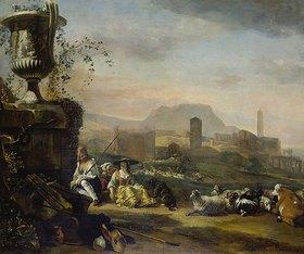 Jan Weenix: Römische Landschaft mit Hirten und Herde