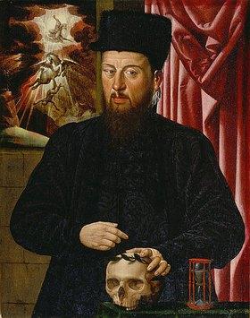 Hans Bock d.Ä.: Bildnis des Theodor Zwinger in einer memento mori Darstellung
