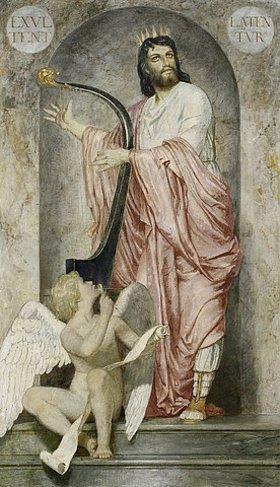 Arnold Böcklin: König David mit der Harfe (Mittelbild der Fresken aus dem Gartensaal des Ratsherrn Karl Sarasin-Sauvain)