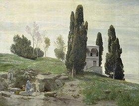 Arnold Böcklin: Ruhe auf der Flucht nach Ägypten (Linkes Bild der Fresken aus dem Gartensaal des Ratsherrn Karl Sarasin-Sauvain)