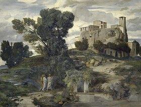 Arnold Böcklin: Der Gang nach Emmaus (Rechtes Bild der Fresken aus dem Gartensaal des Ratsherrn Karl Sarasin-Sauvain)