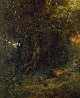Arnold Böcklin: Waldlandschaft mit ruhendem Pan