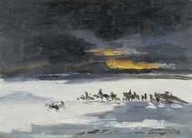 Frank Buchser: Reitende Indianer im Schneesturm