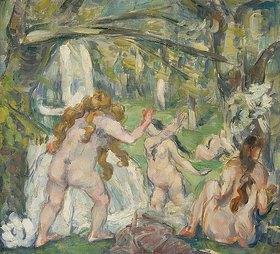 Paul Cézanne: Badende Frauen. Ölskizze