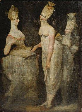 Johann Heinrich Füssli: Drei Kurtisanen (Rückseite des Werkes Ruhender Frauenakt und Klavierspielerin)