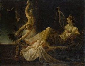 Johann Heinrich Füssli: Siglinde, die Mutter Siegfrieds, erwacht durch den Streit des guten und des böse