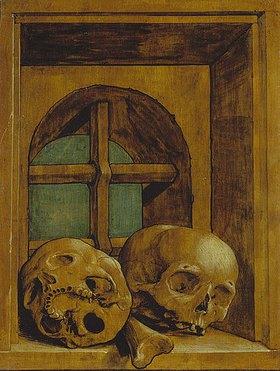 Hans Holbein d.J.: Zwei Totenköpfe in einer Fensternische
