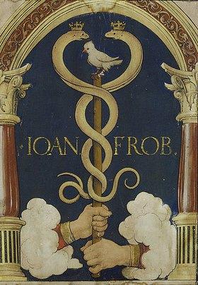 Hans Holbein d.J.: Das Buchdruckerzeichen des Johannes Froben von Basel