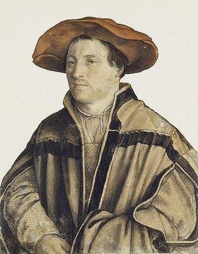 Hans Holbein d.J.: Bildnis eines unbekannten Mannes mit rotem Barett