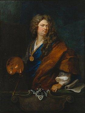 Johann Rudolf Huber d.Ä.: Selbstbildnis mit Familienwappen