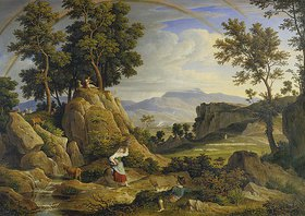 Joseph Anton Koch: Landschaft bei Olevano mit Regenbogen
